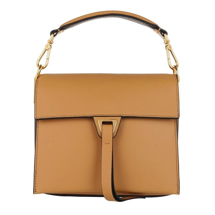 Handtasche, Coccinelle, Handbag Double Grainy Leather Warm Beige/Noir