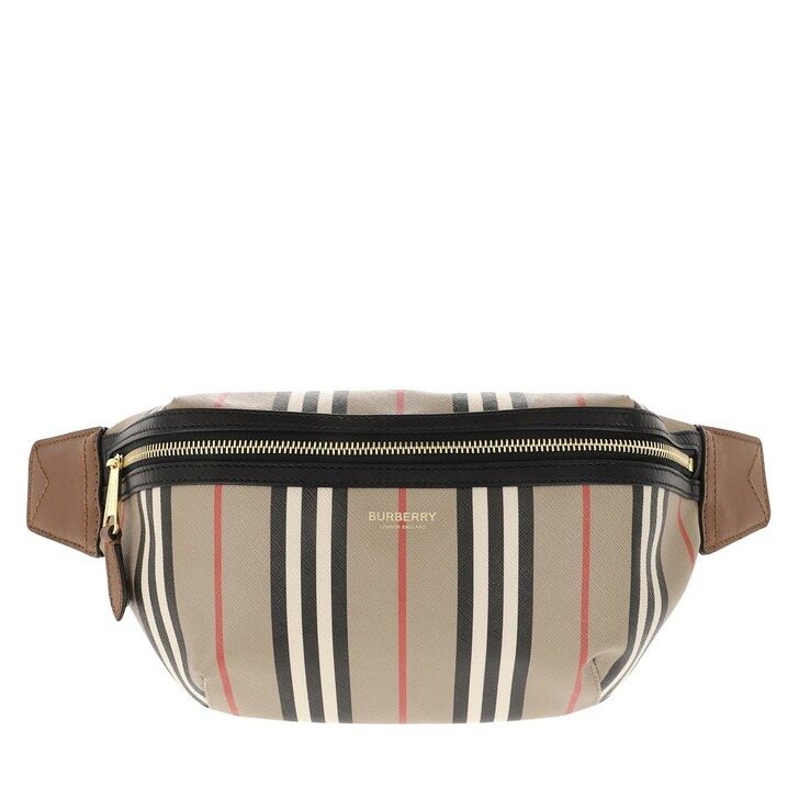 Handtasche, Burberry, Icon Stripe E Canvas Belt Bag Archive Beige