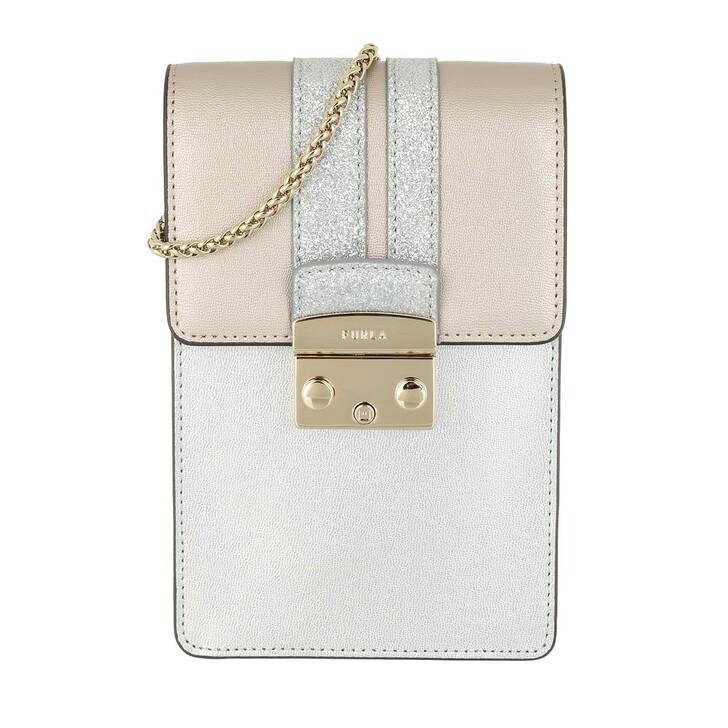 Handtasche, Furla, Metropolis Mini Vertical Crossbody Bag Leather Light Silver
