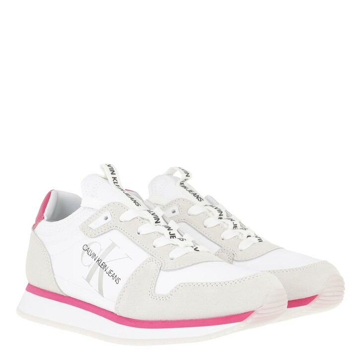Schuh, Calvin Klein, Sock Lace Up Sneakers Nylon Leather White