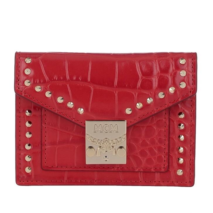 Geldbörse, MCM, Croco Mini Wallet Ruby Red
