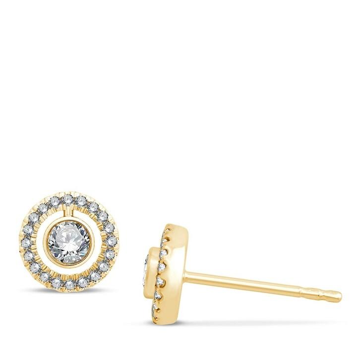 earrings, Pukka Berlin, Halo Diamond Studs Yellow Gold