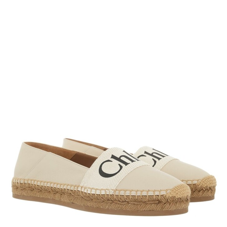 Schuh, Chloé, Woody Espadrille Leather & Canvas White