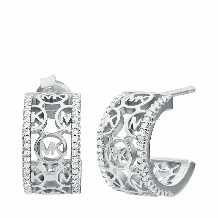 Ohrring, Michael Kors, Sterling Silver Monogram Logo Huggie Earrings Silver