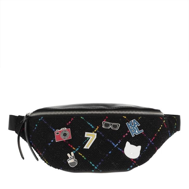 Handtasche, Karl Lagerfeld, Studio Tweed Bumbag Black Multi