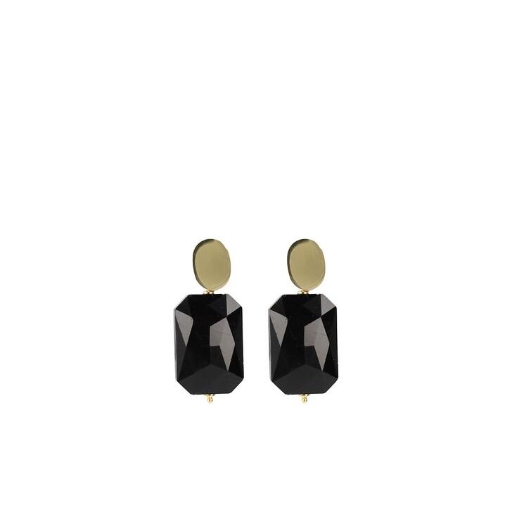 Ohrring, LOTT.gioielli, Quartz rectangle M black Gold