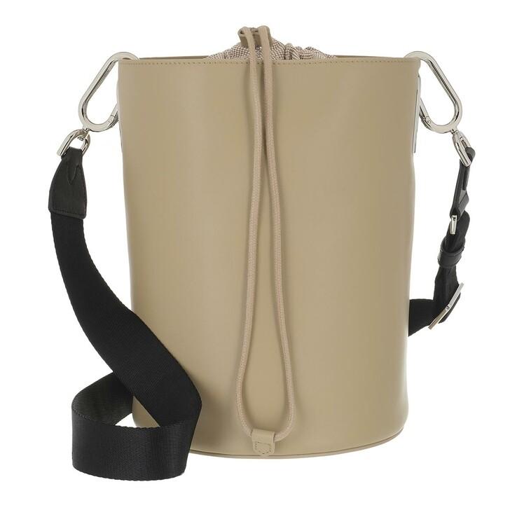 Handtasche, Furla, Furla Lipari M Bucket Bag - Vitello Roma+Nastro Lo Juta+Nero