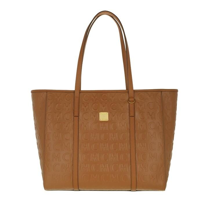 bags, MCM, Toni Mcm Mn Leather Shopper Medium   Cognac