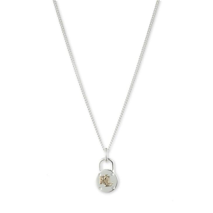 """Kette, Lauren Ralph Lauren, Necklace 14"""" PADLOCK PENDANT Silver"""