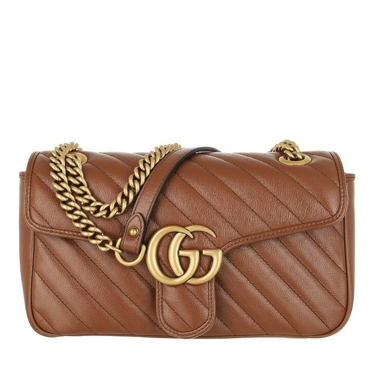 Handtasche, Gucci, GG Marmont Small Crossbody Bag Matelassé Leather Brown