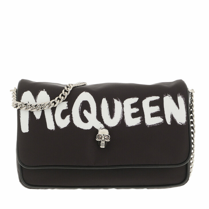 bags, Alexander McQueen, Graffiti Style Crossbody Bag Black White
