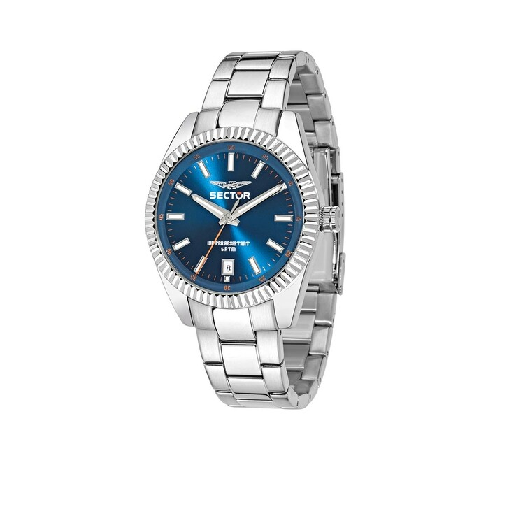 watches, Sector, 240 41Mm 3H Blue Dial Bracelet SS Case Silver