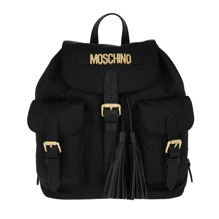 Reisetasche, Moschino, Textile Flap Backpack Black
