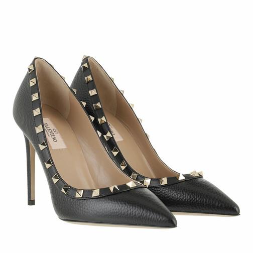 valentino garavani -  Pumps & High Heels - Rockstud Pump Grained Leather Nero - in schwarz - für Damen