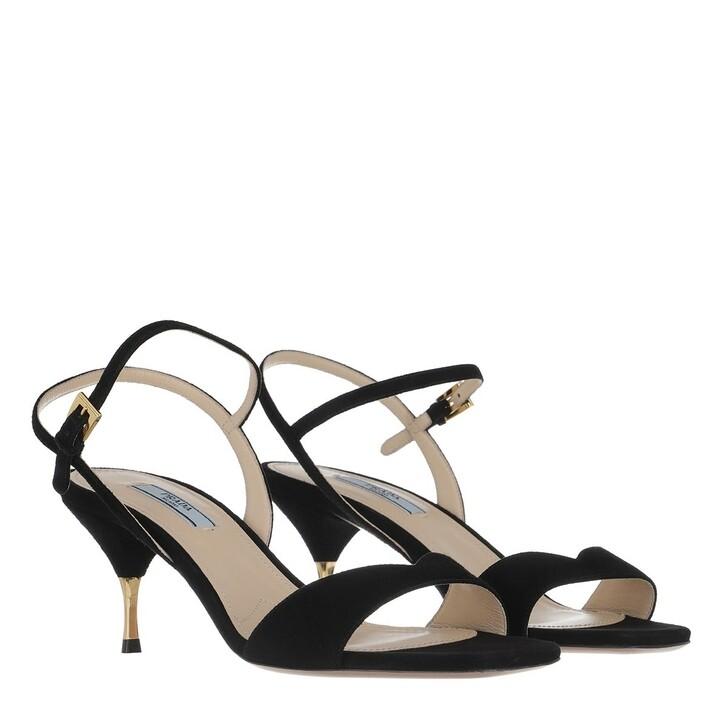 Schuh, Prada, Sandals Suede Leather Nero
