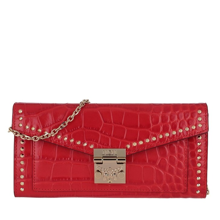 wallets, MCM, Large Croco Wallet Ruby Red