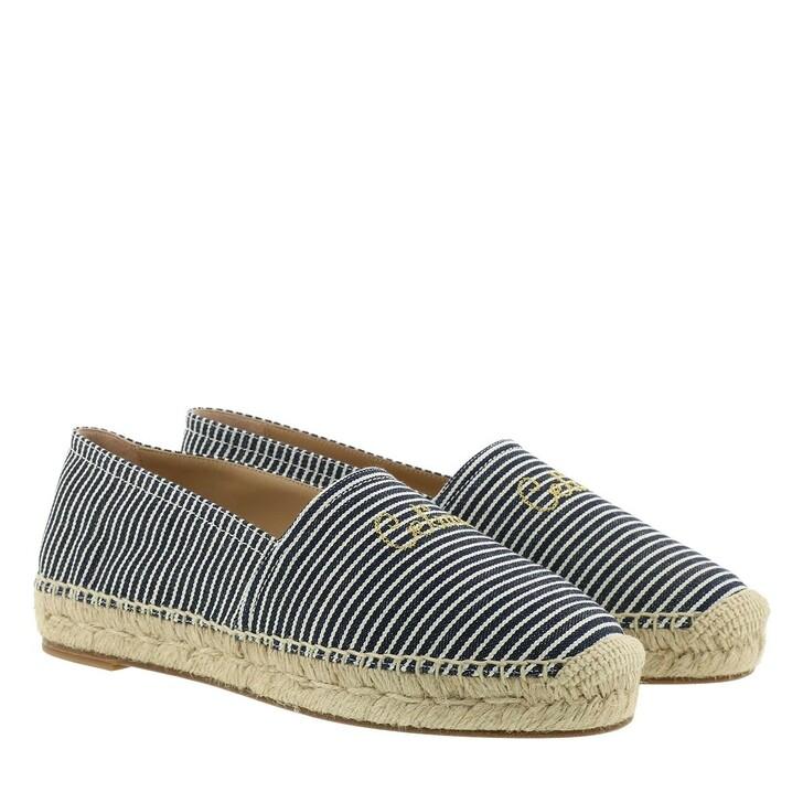Schuh, Celine, Taillat Flat Espadrille Stripe Canvas White Blue