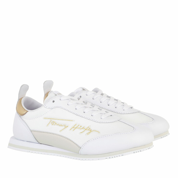 Schuh, Tommy Hilfiger, Gold Signature Retro Sneakers White