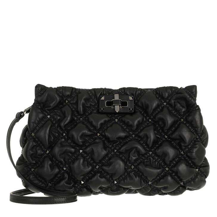 bags, Valentino Garavani, Spike Me Clutch Nappa Leather Black