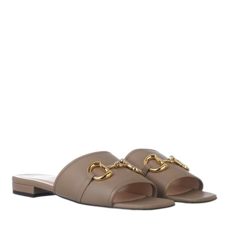shoes, Gucci, Lumiere Horsebit Slides Nappa Leather Mud