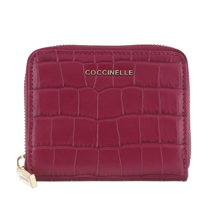 wallets, Coccinelle, Croco Shiny Soft Wallet Leather Deep Violet