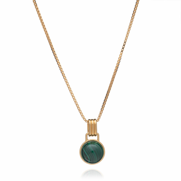 Kette, Rachel Jackson London, Round Malachite Cabachon Gold Necklace Gold