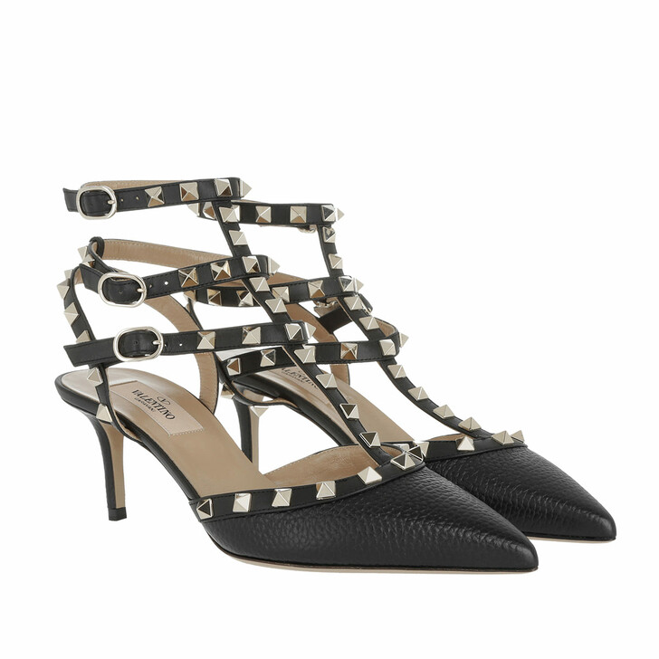 Schuh, Valentino Garavani, Rockstud Ankle Strap Grained Leather Pumps Black