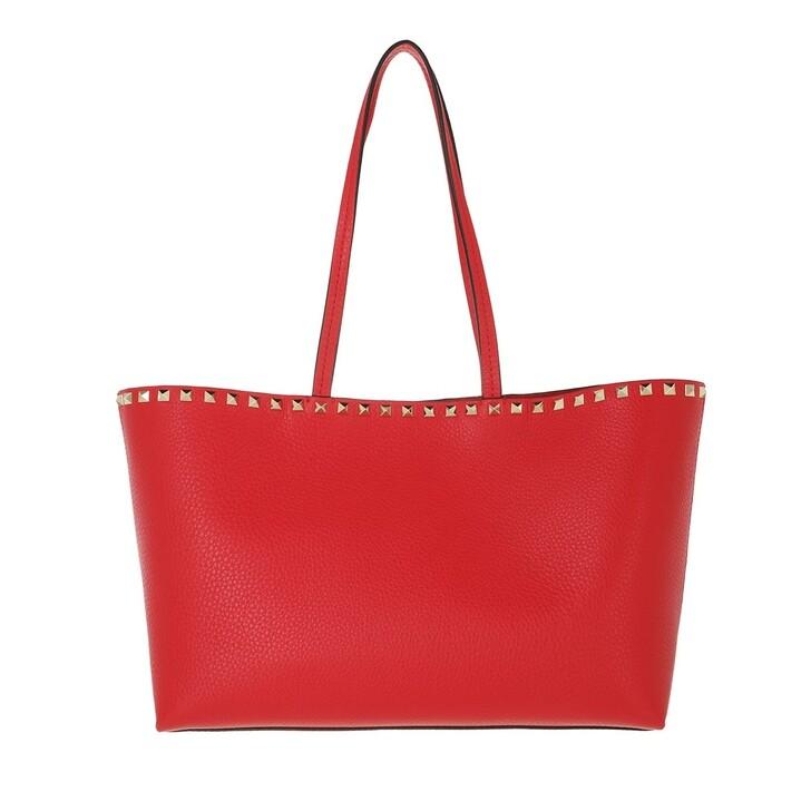 bags, Valentino Garavani, Rockstud Shopping Bag Calfskin Red