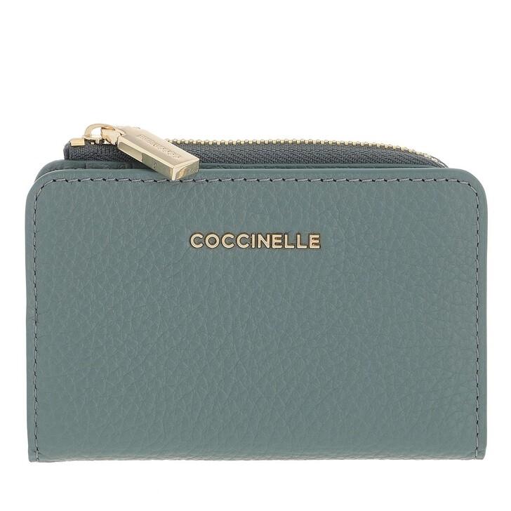 wallets, Coccinelle, Metallic Soft Credit Card Holder Shark Grey