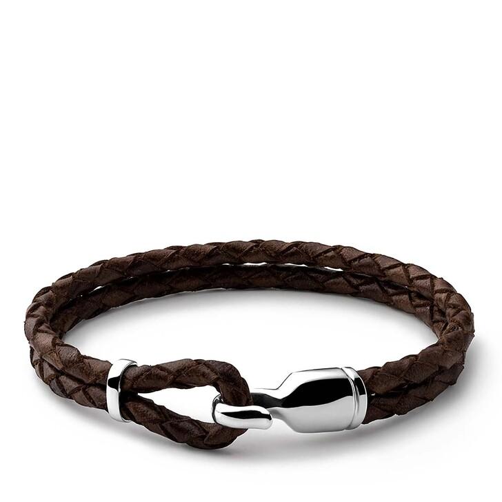 Armreif, Miansai, Single Trice Bracelet Sleeve Sterling Silver Polished M Brown