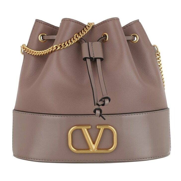 Handtasche, Valentino, V Logo Bucket Bag Leather Clay