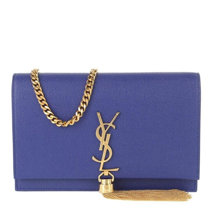 Handtasche, Saint Laurent, Kate Monogramme Chain Clutch Saphir Bleu