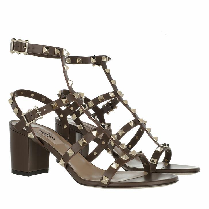 Schuh, Valentino Garavani, Rockstud Sandals Leather Deep Taupe