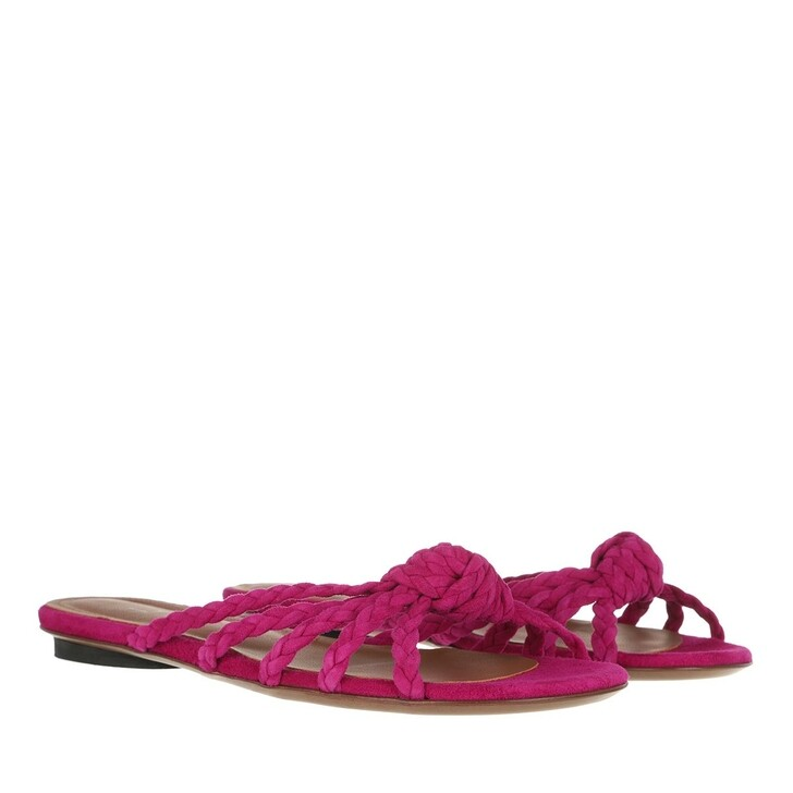Schuh, L´Autre Chose, Flat Sandals Bicolor Kid Suede Fuchsia Red