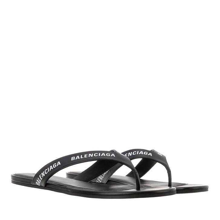 Schuh, Balenciaga, Logo Flip Flop Slippers Plain Leather Black/White