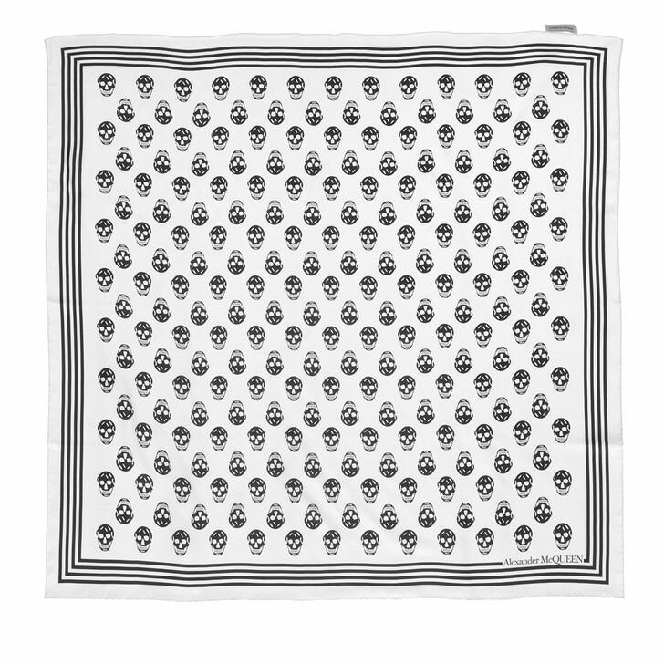 scarves, Alexander McQueen, Biker Scarf 90X90 Ivory/Black
