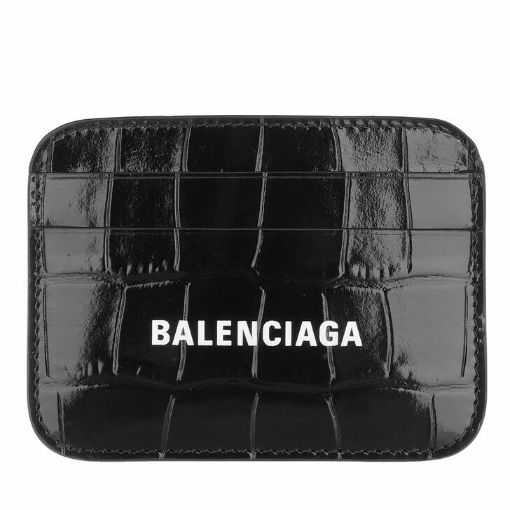 Geldbörse, Balenciaga, Logo Card Holder Black White