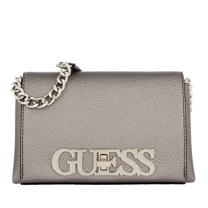 Handtasche, Guess, Uptown Chic Mini Xbody Flap Pewter