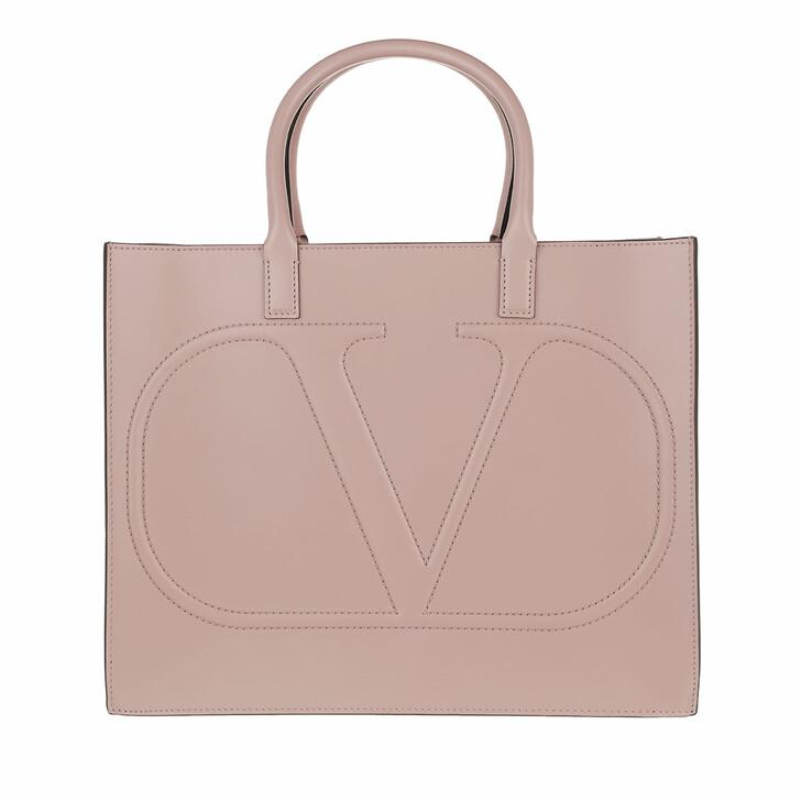 bags, Valentino Garavani, V Logo Tote Bag Leather Poudre