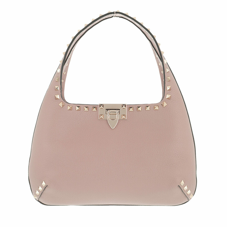 Handtasche, Valentino Garavani, Small Rockstud Hobo Bag Leather Poudre
