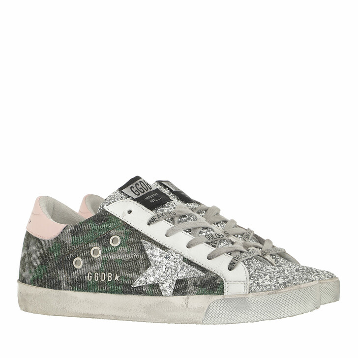 shoes, Golden Goose, Superstar Sneakers Green Camouflage/Silver