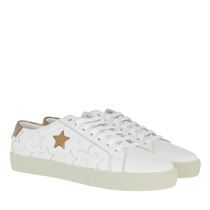 shoes, Saint Laurent, Star Court Classic Sneakers Leather White/Gold