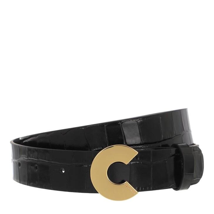 "Gürtel, Coccinelle, Logo ""C"" Croco Shiny Soft Belt Noir"