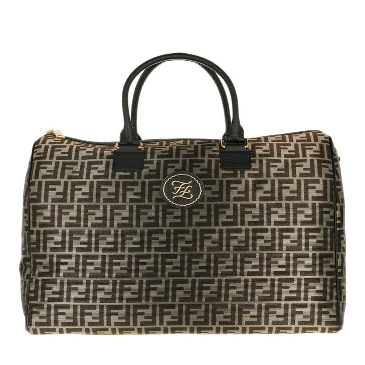 Handtasche, Fendi, Men Logo All Over Luggage Bag Gold/Black