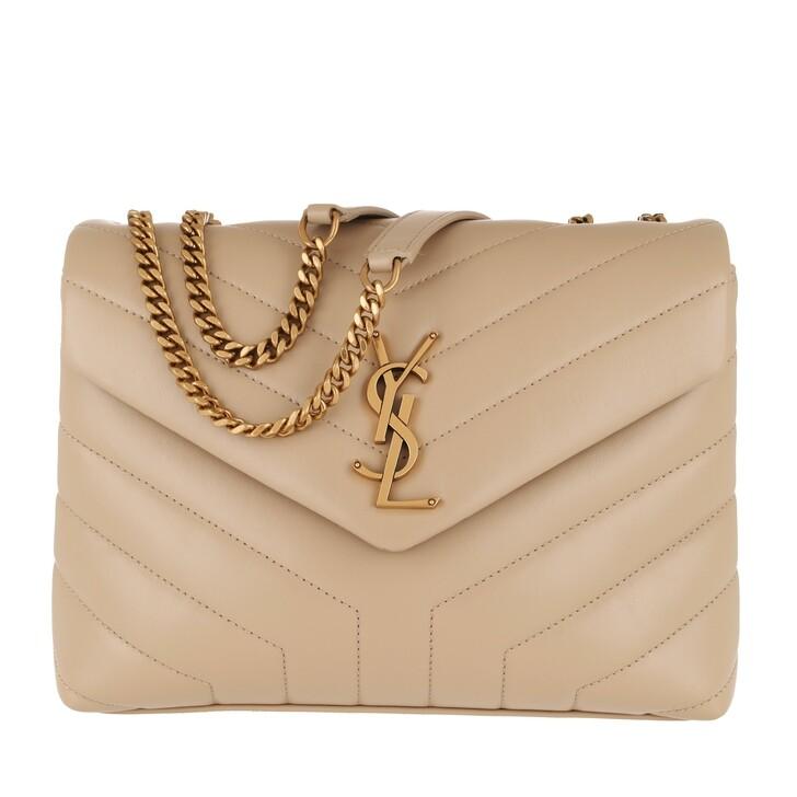 Handtasche, Saint Laurent, LouLou Shoulder Bag S Leather Dark Beige