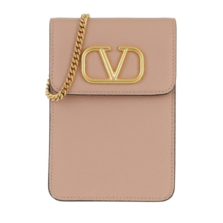 Smartphone/Tablet case (Case), Valentino Garavani, V Logo Phone Pouch With Chain Leather Rose