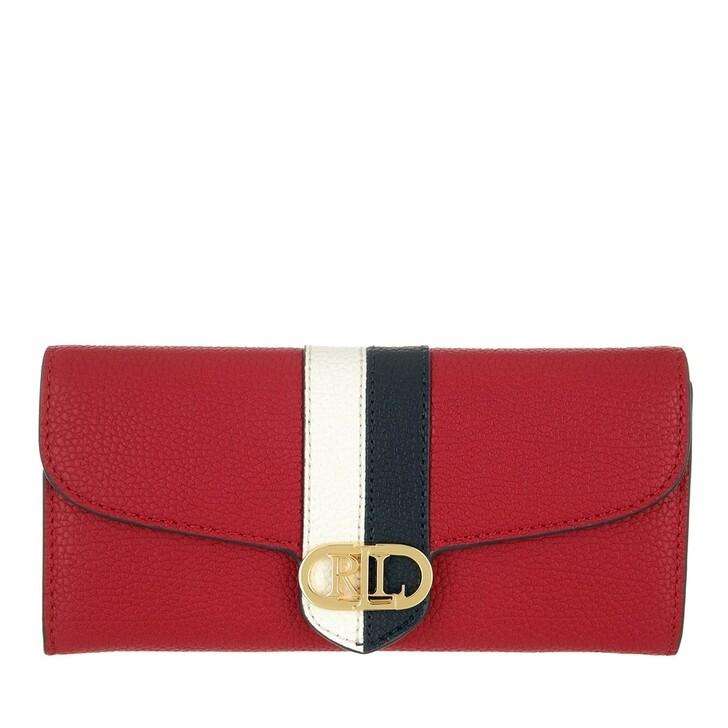 wallets, Lauren Ralph Lauren, Logo Cont Wallet Large Red/Snow White/Lauren Navy