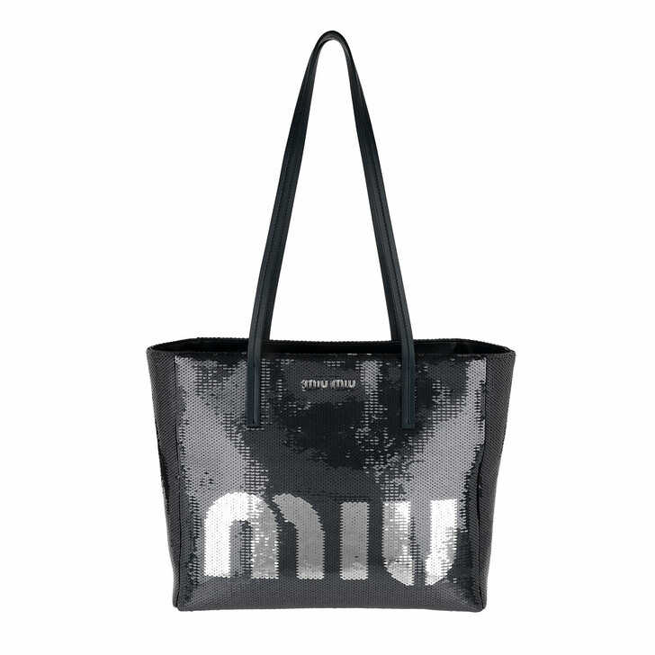 Handtasche, Miu Miu, Logo Shopping Bag Blu/Argento