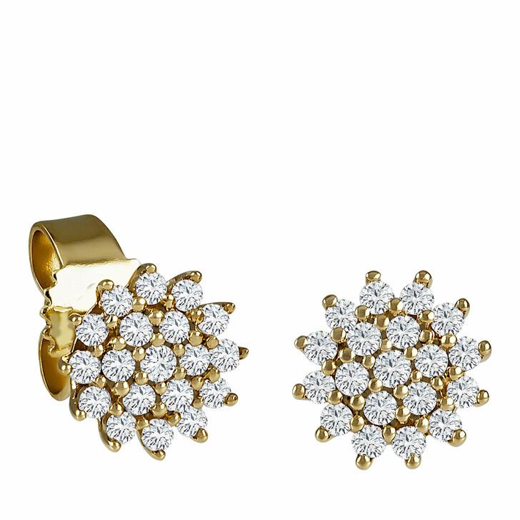 earrings, diamondline, Stud Earrings 585 38 Diamonds total approx. 0,25 c Yellow Gold