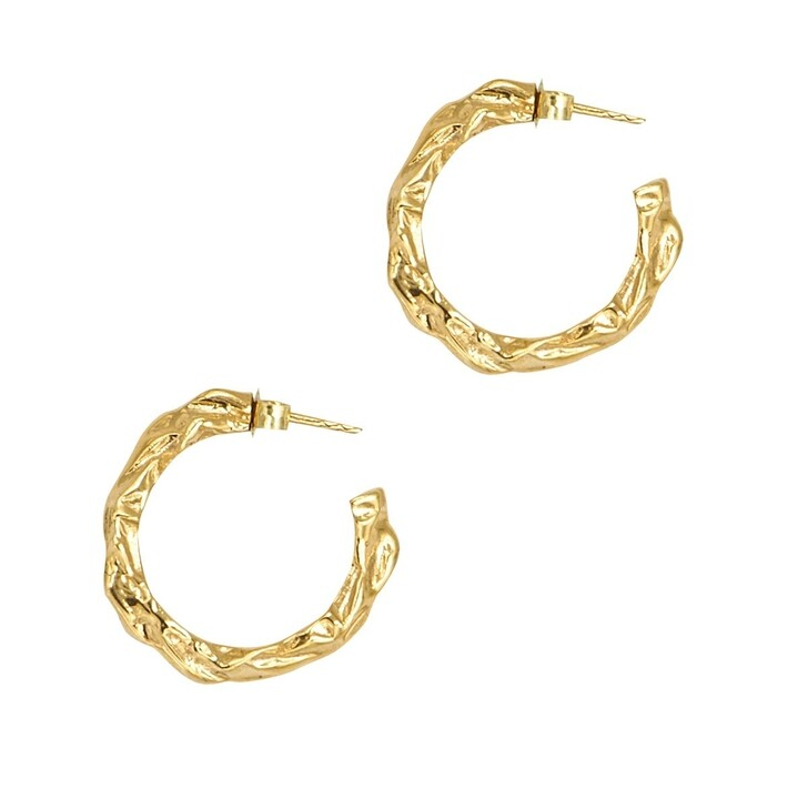 Ohrring, Hermina Athens, Full Moon Hoops Yellow Gold